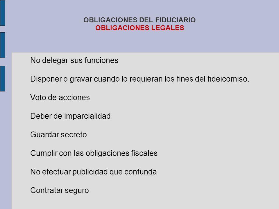 OBLIGACIONES DEL FIDUCIARIO OBLIGACIONES LEGALES