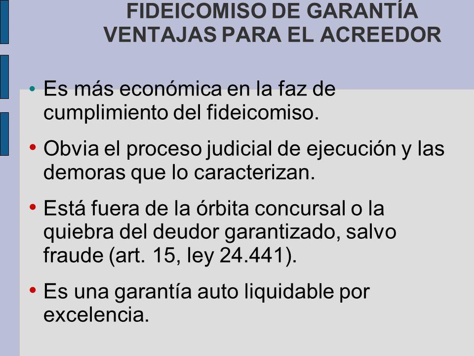 FIDEICOMISO DE GARANTÍA VENTAJAS PARA EL ACREEDOR