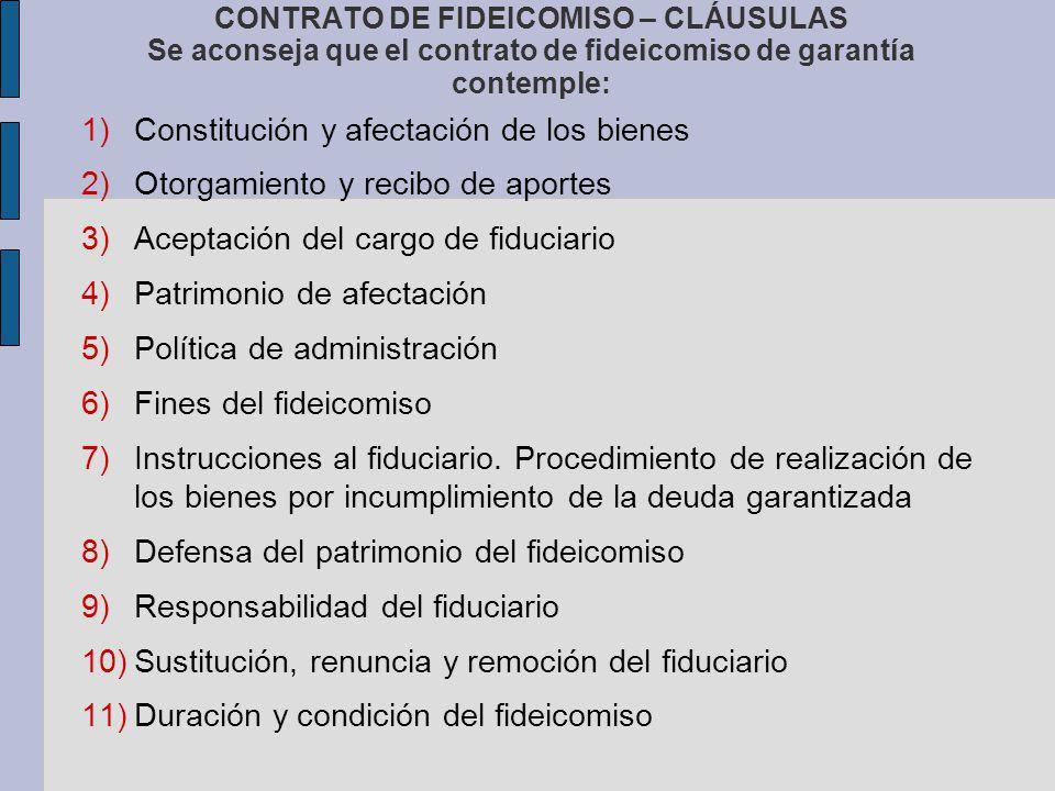 Constitución y afectación de los bienes