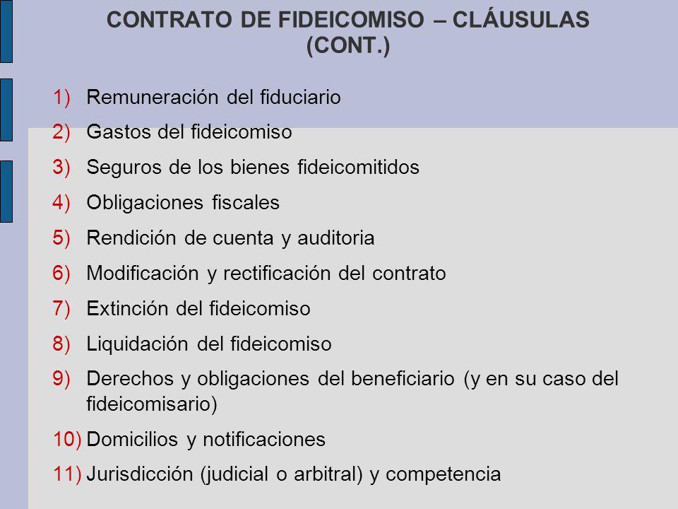 CONTRATO DE FIDEICOMISO – CLÁUSULAS (CONT.)