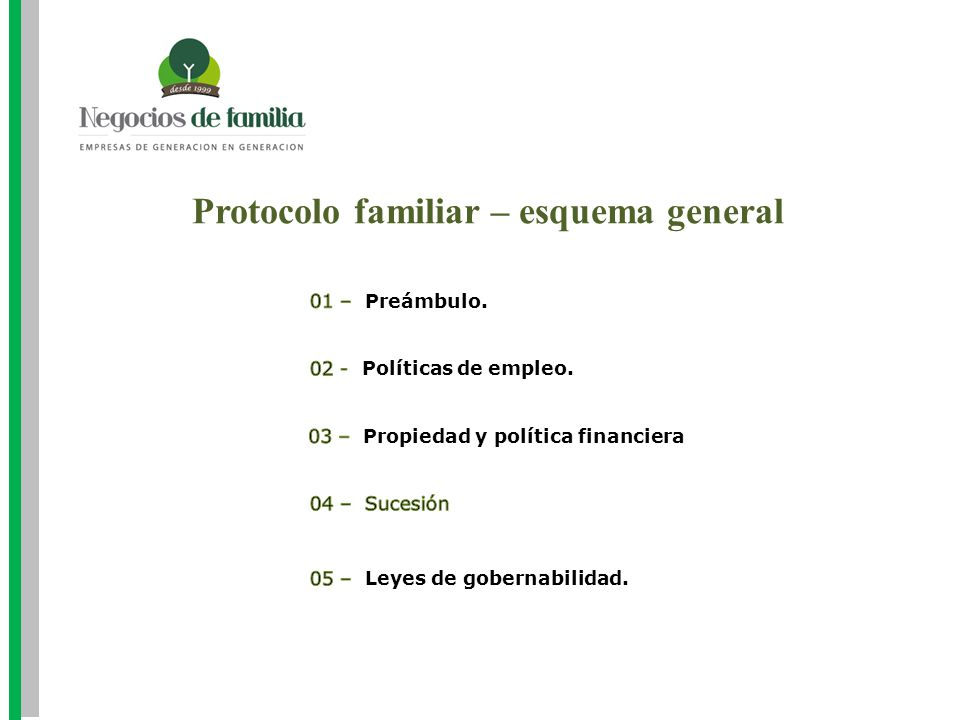 Protocolo familiar – esquema general