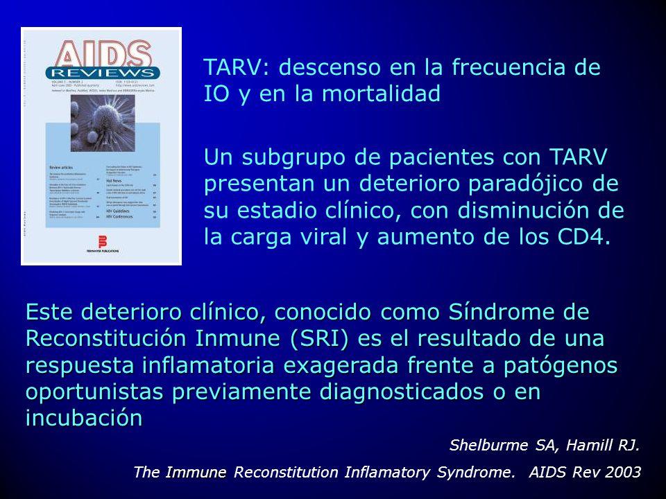 TARV: descenso en la frecuencia de IO y en la mortalidad