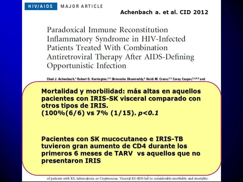 Achenbach a. et al. CID 2012 Mortalidad y morbilidad: más altas en aquellos pacientes con IRIS-SK visceral comparado con otros tipos de IRIS.