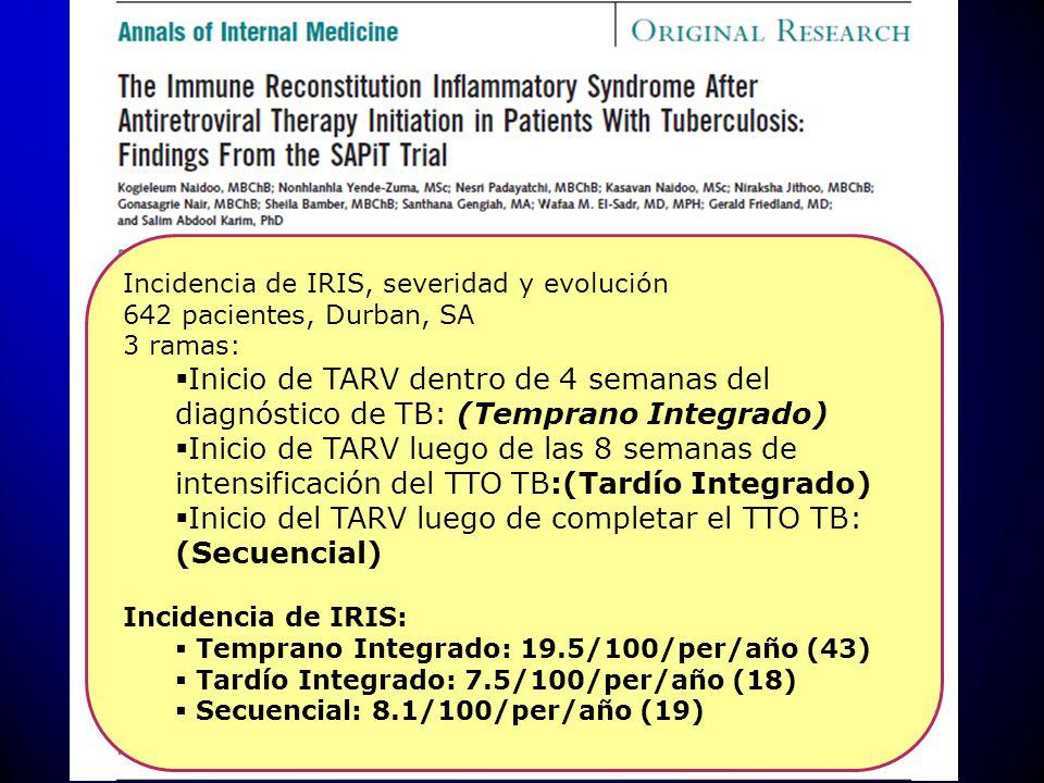 Inicio del TARV luego de completar el TTO TB: (Secuencial)