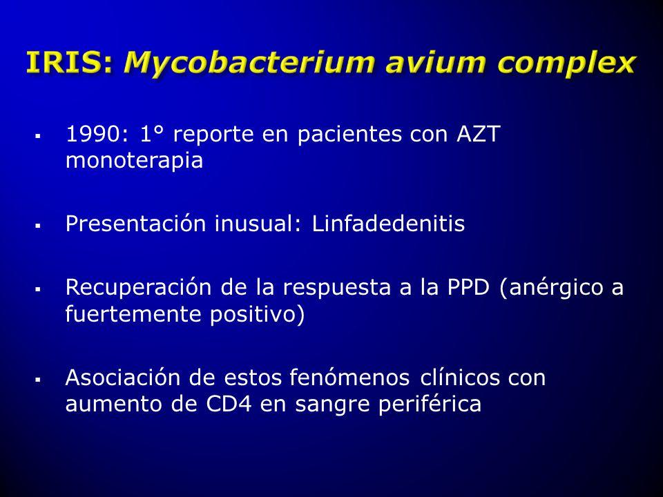 1990: 1° reporte en pacientes con AZT monoterapia