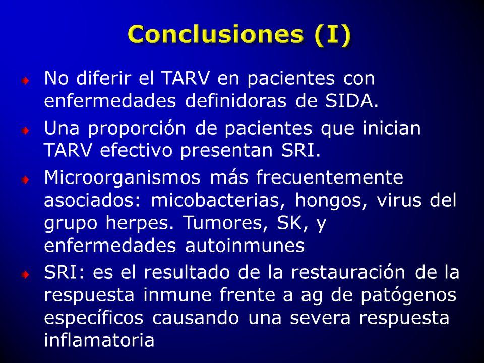 No diferir el TARV en pacientes con enfermedades definidoras de SIDA.