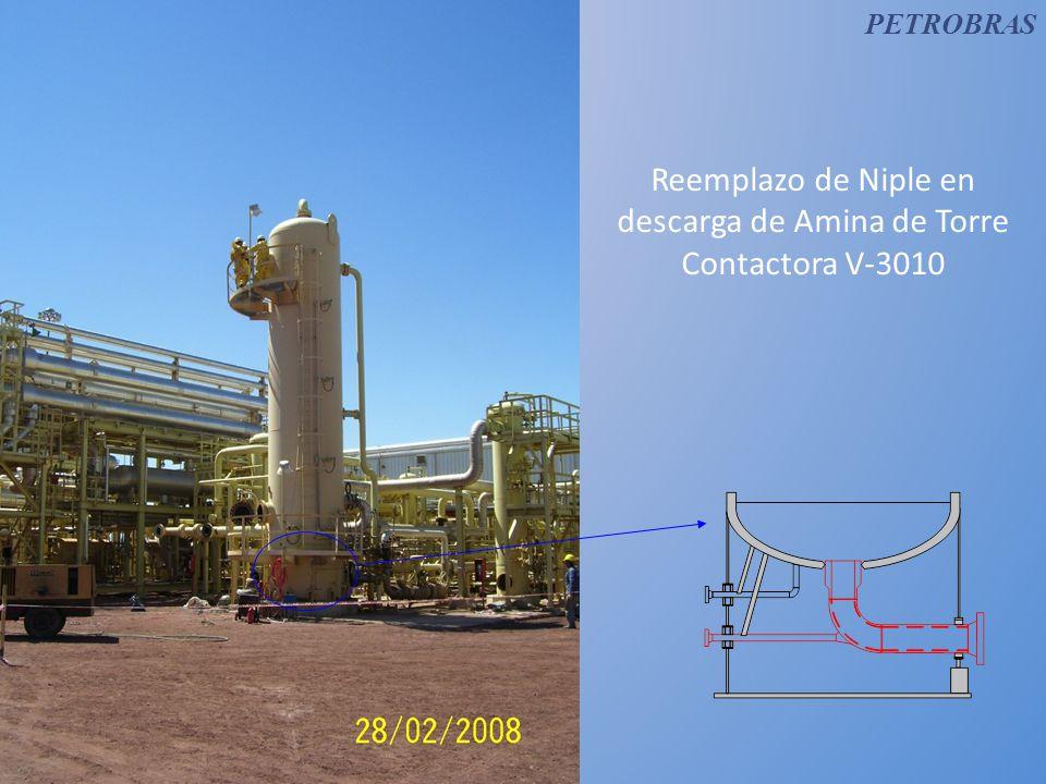 Reemplazo de Niple en descarga de Amina de Torre Contactora V-3010
