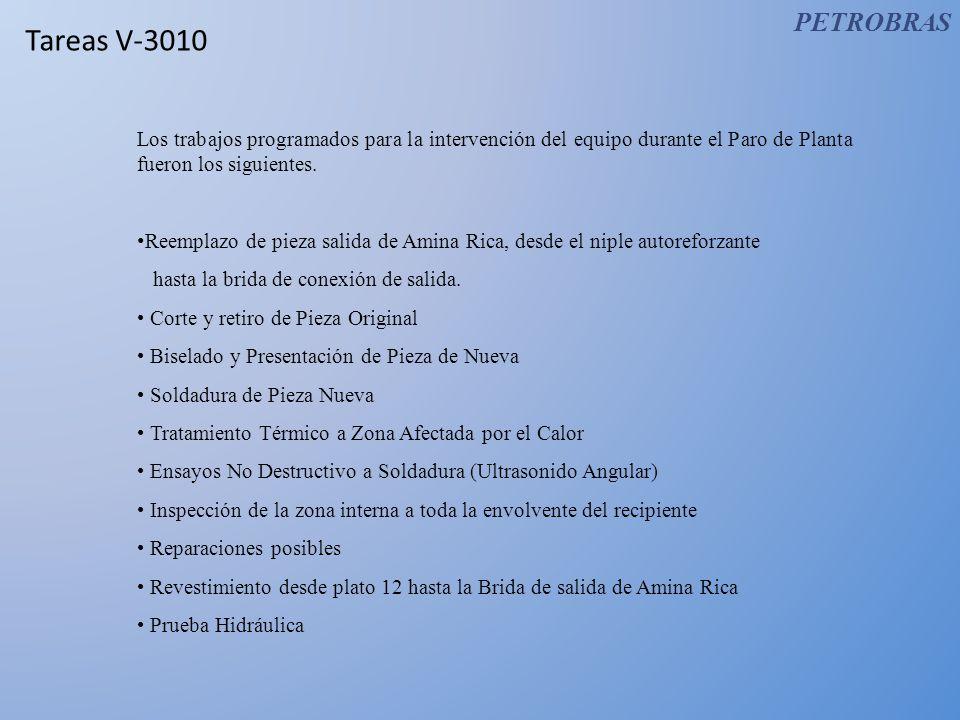 PETROBRAS Tareas V-3010. Los trabajos programados para la intervención del equipo durante el Paro de Planta fueron los siguientes.
