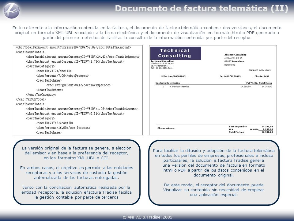 Documento de factura telemática (II)