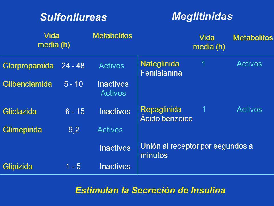 Sulfonilureas Meglitinidas Estimulan la Secreción de Insulina