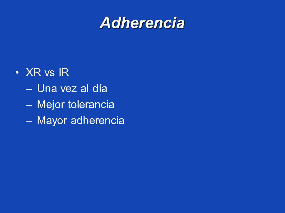 Adherencia XR vs IR Una vez al día Mejor tolerancia Mayor adherencia