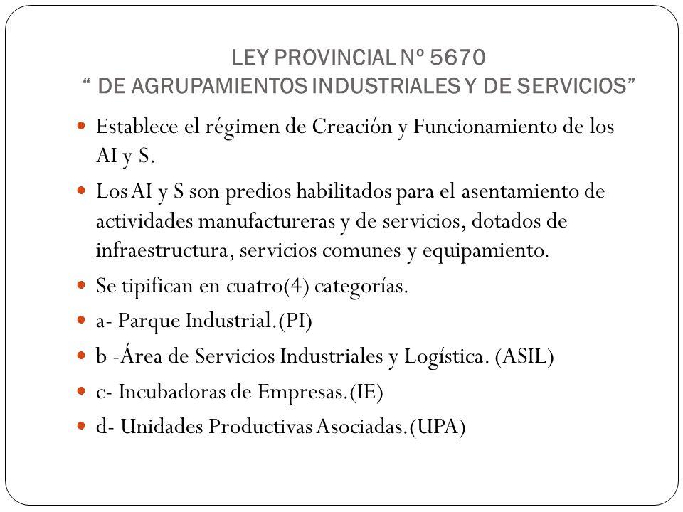 LEY PROVINCIAL Nº 5670 DE AGRUPAMIENTOS INDUSTRIALES Y DE SERVICIOS