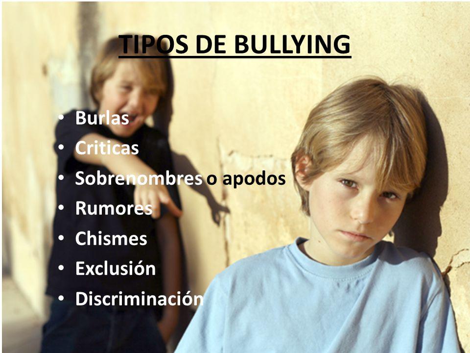 TIPOS DE BULLYING Burlas Criticas Sobrenombres o apodos Rumores