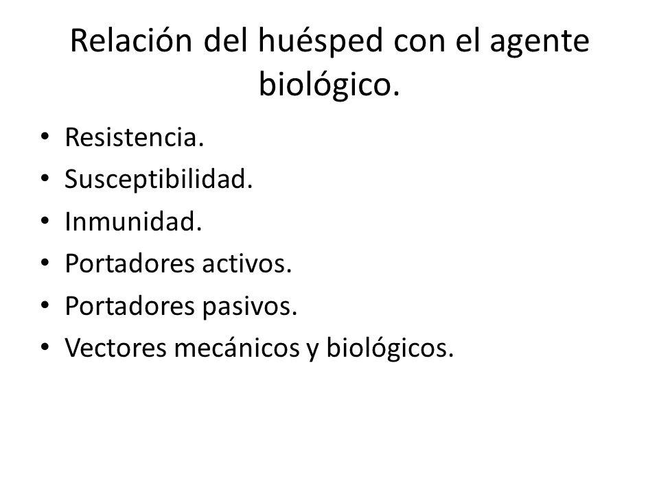 Relación del huésped con el agente biológico.