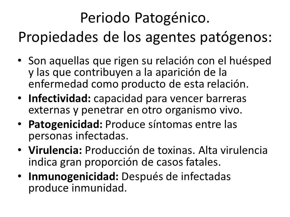 Periodo Patogénico. Propiedades de los agentes patógenos: