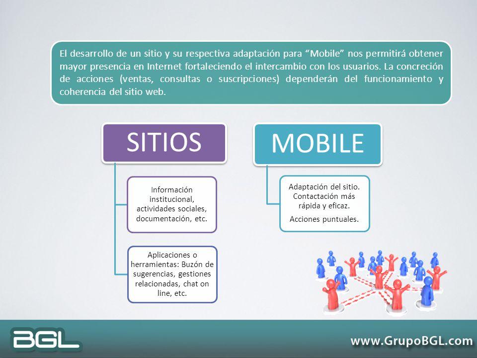 El desarrollo de un sitio y su respectiva adaptación para Mobile nos permitirá obtener mayor presencia en Internet fortaleciendo el intercambio con los usuarios. La concreción de acciones (ventas, consultas o suscripciones) dependerán del funcionamiento y coherencia del sitio web.
