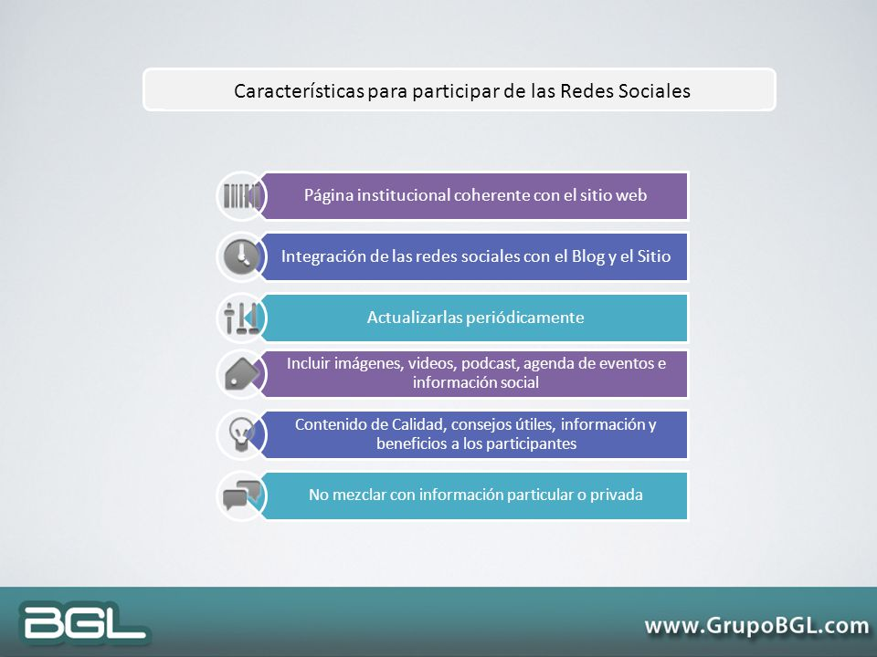 Características para participar de las Redes Sociales