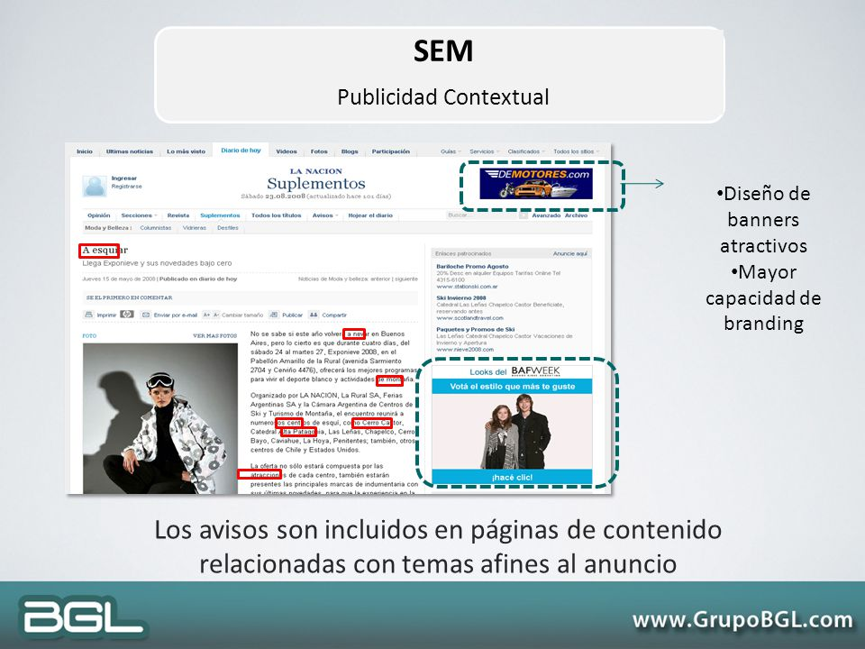 SEM Publicidad Contextual. Diseño de banners atractivos. Mayor capacidad de branding.