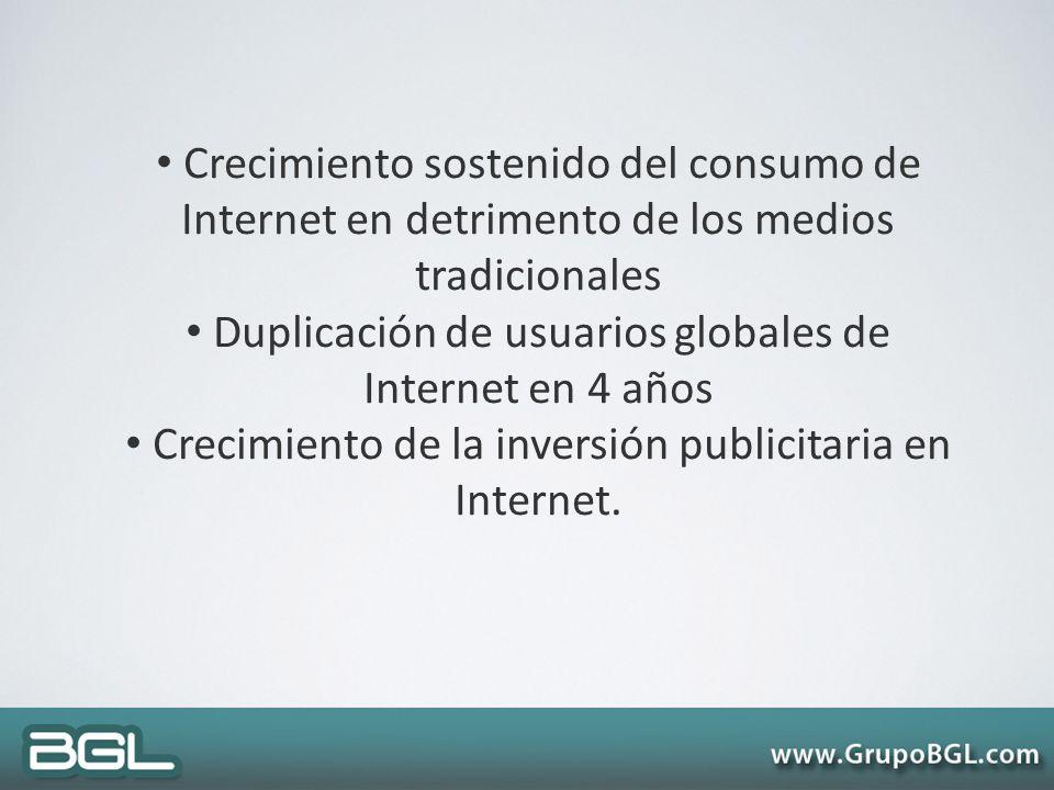 Duplicación de usuarios globales de Internet en 4 años