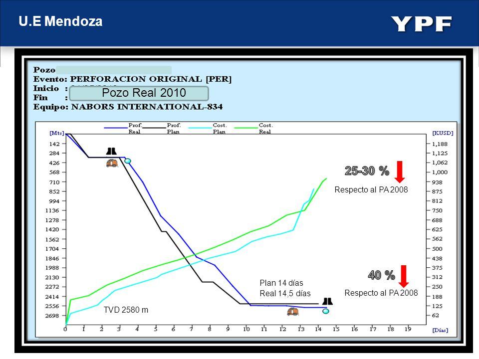 U.E Mendoza Pozo Real 2010 25-30 % 40 % Respecto al PA 2008