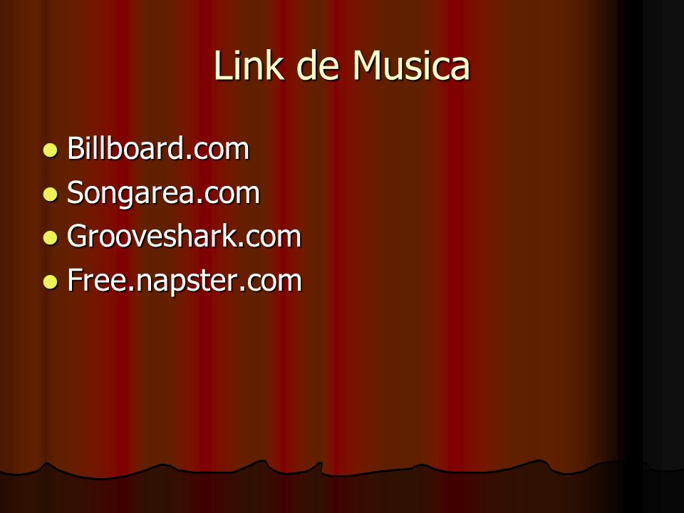 Link de Musica Billboard.com Songarea.com Grooveshark.com