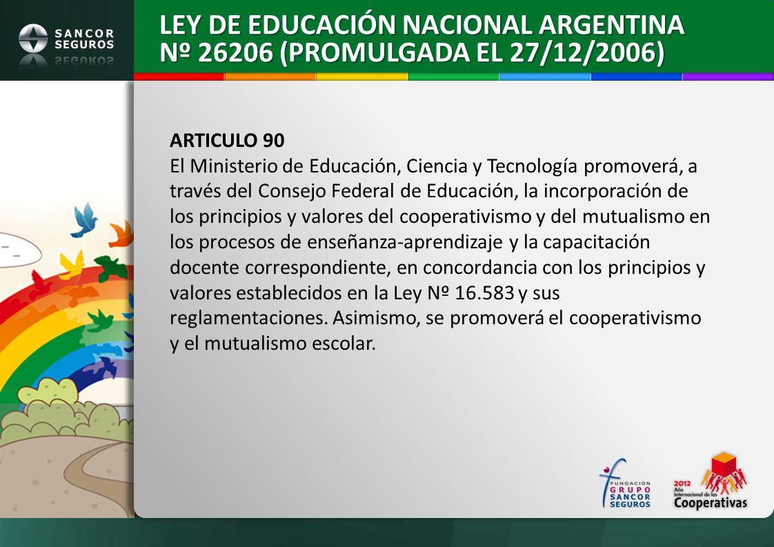 LEY DE EDUCACIÓN NACIONAL ARGENTINA Nº 26206 (PROMULGADA EL 27/12/2006)