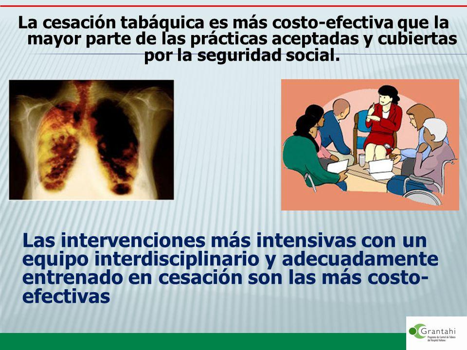 La cesación tabáquica es más costo-efectiva que la mayor parte de las prácticas aceptadas y cubiertas por la seguridad social.