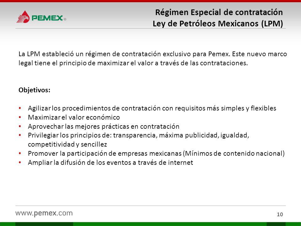 Régimen Especial de contratación Ley de Petróleos Mexicanos (LPM)