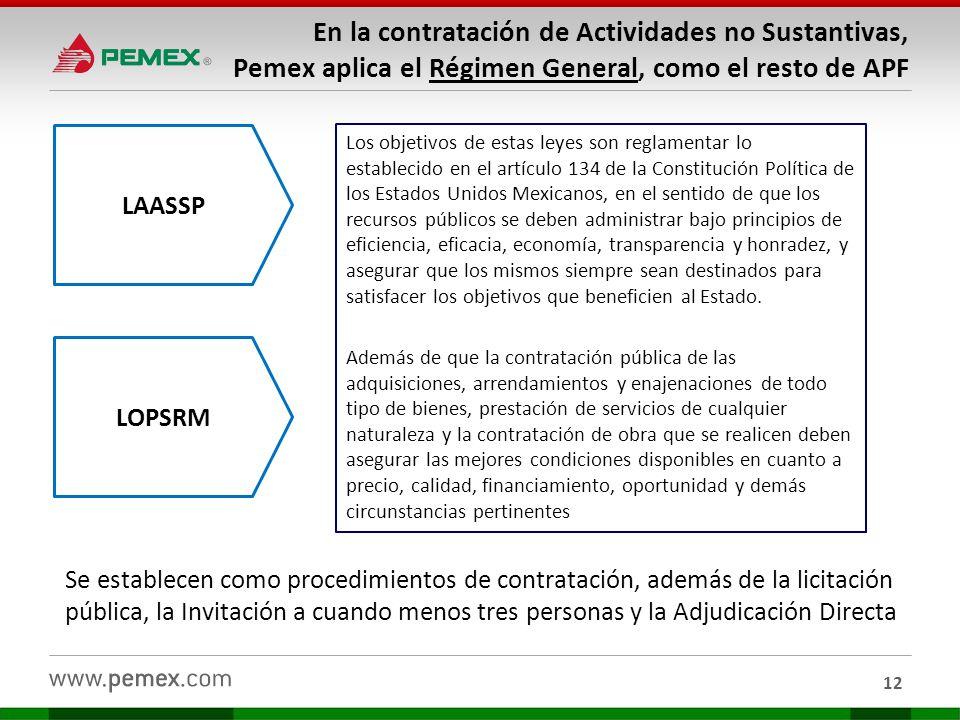 En la contratación de Actividades no Sustantivas, Pemex aplica el Régimen General, como el resto de APF