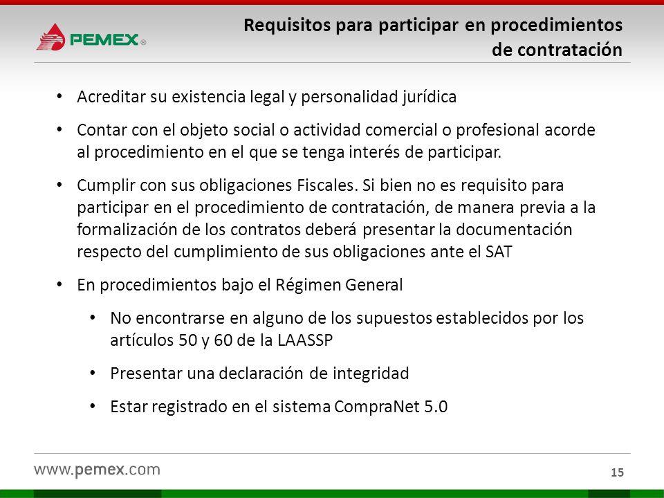 Requisitos para participar en procedimientos de contratación