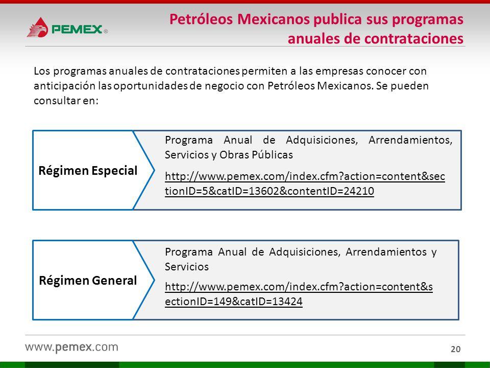 Petróleos Mexicanos publica sus programas anuales de contrataciones