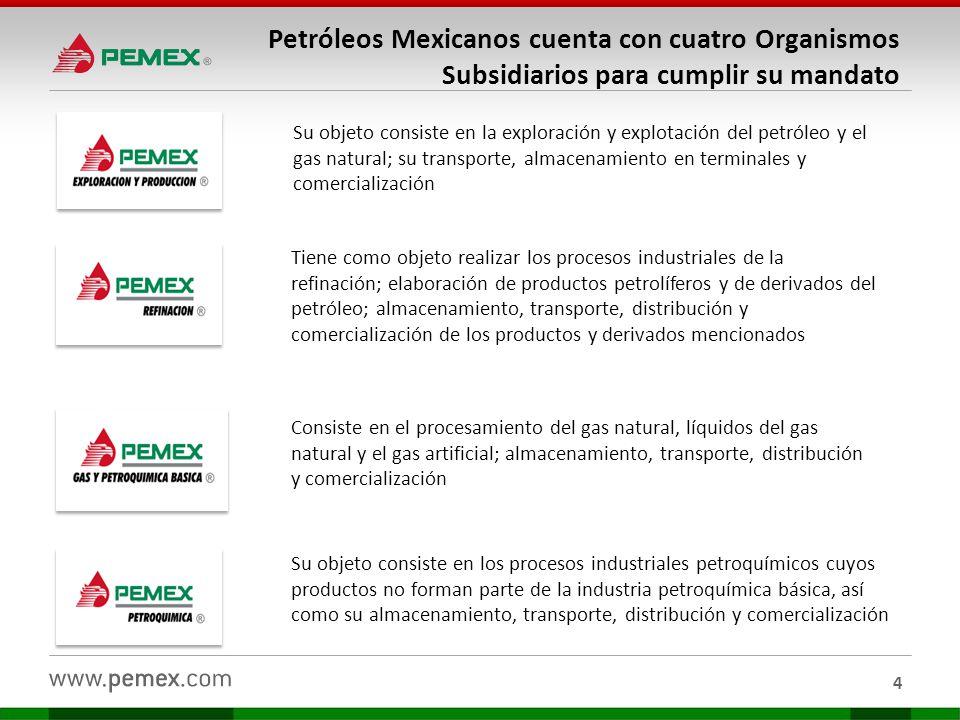 Petróleos Mexicanos cuenta con cuatro Organismos Subsidiarios para cumplir su mandato
