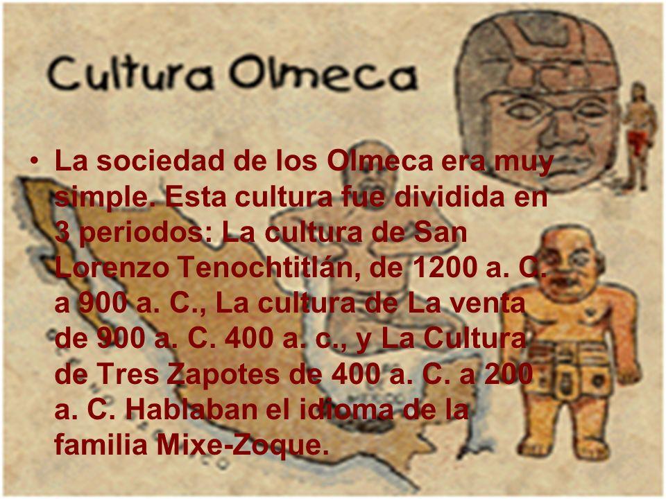 La sociedad de los Olmeca era muy simple