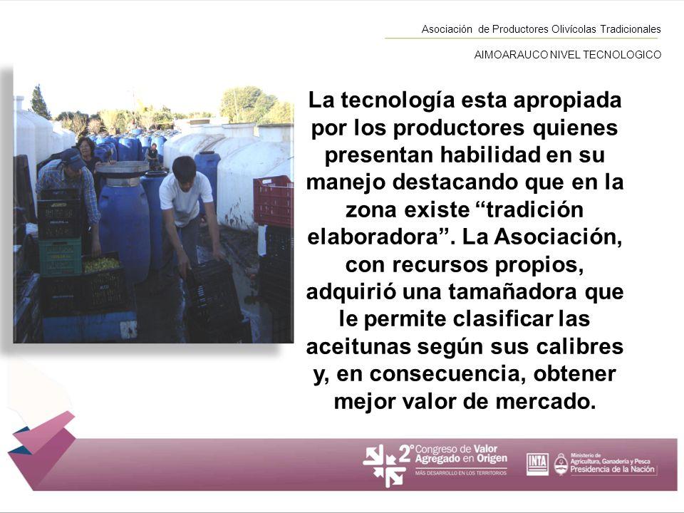 Asociación de Productores Olivícolas Tradicionales AIMOARAUCO NIVEL TECNOLOGICO