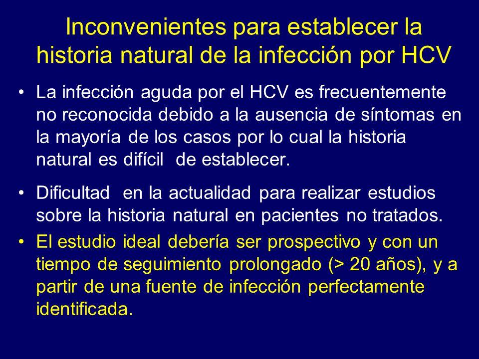 Inconvenientes para establecer la historia natural de la infección por HCV