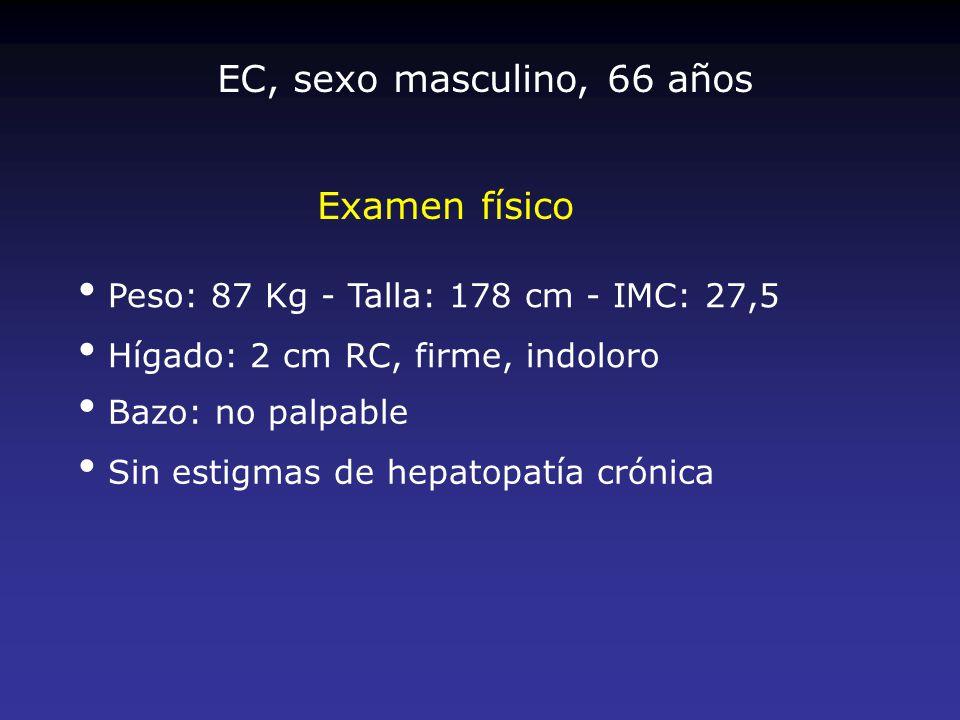 EC, sexo masculino, 66 años Examen físico
