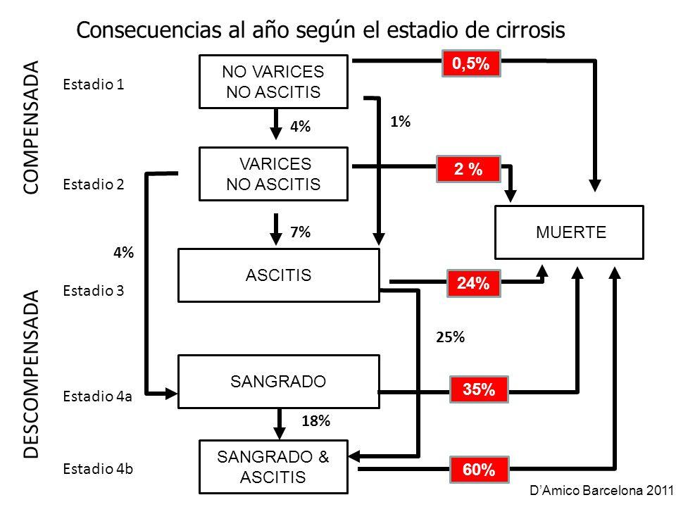 Consecuencias al año según el estadio de cirrosis