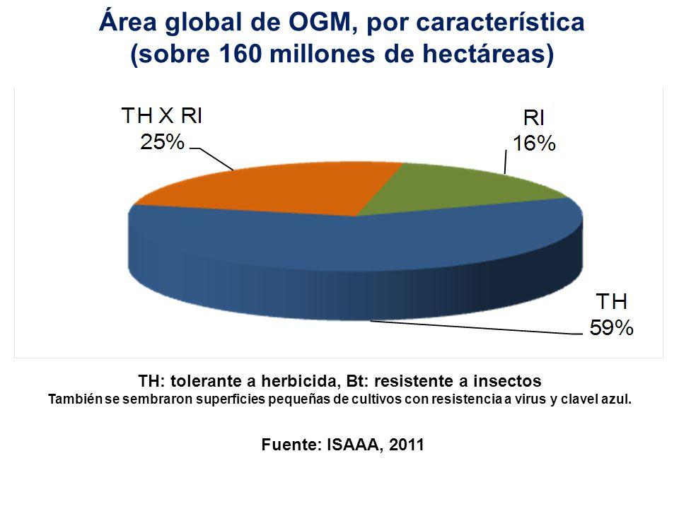 Área global de OGM, por característica