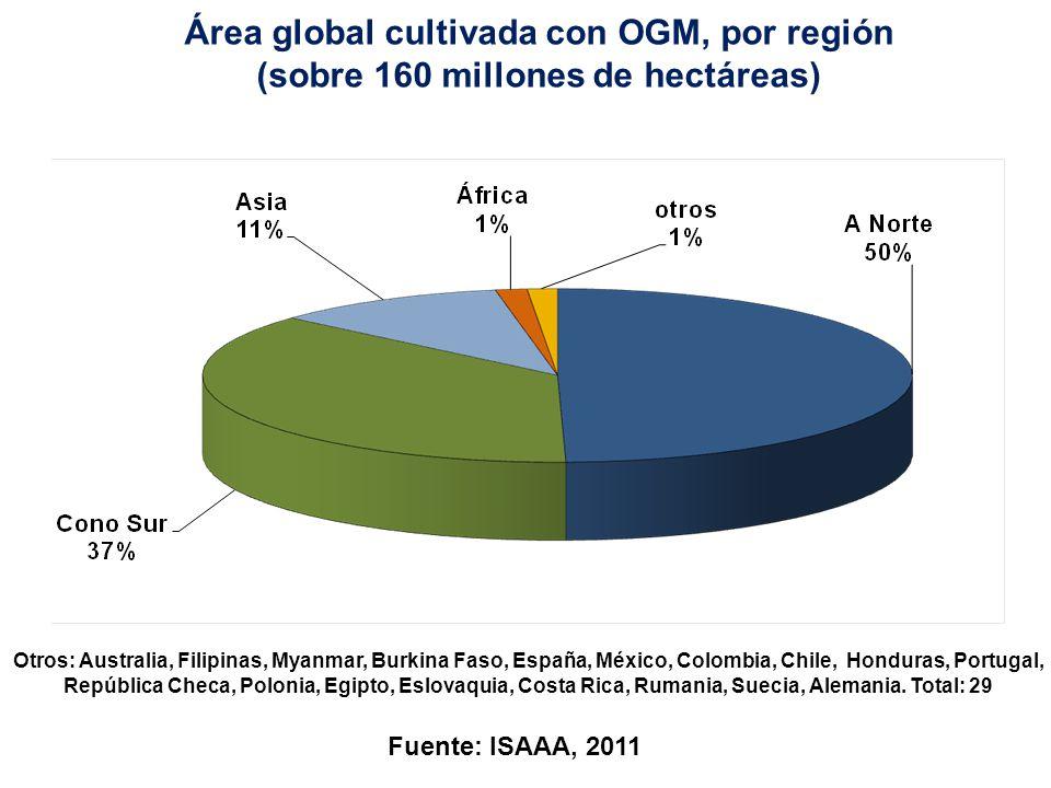 Área global cultivada con OGM, por región