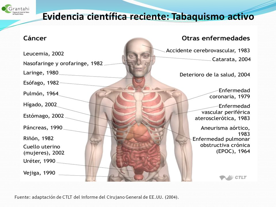 Evidencia científica reciente: Tabaquismo activo