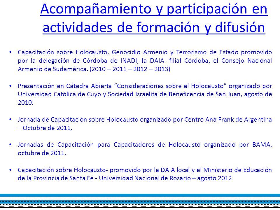 Acompañamiento y participación en actividades de formación y difusión