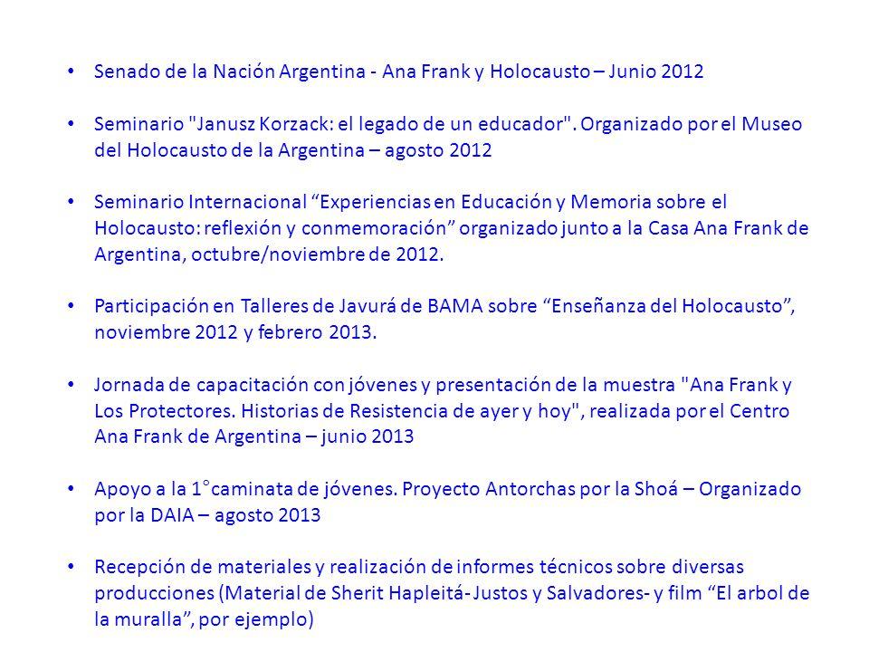 Senado de la Nación Argentina - Ana Frank y Holocausto – Junio 2012