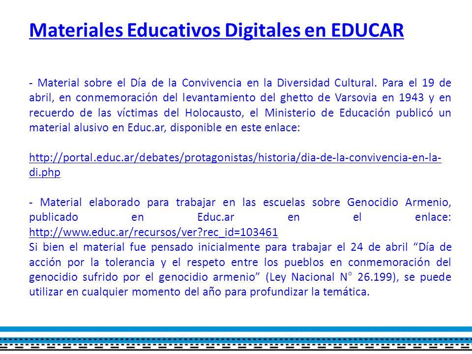 Materiales Educativos Digitales en EDUCAR