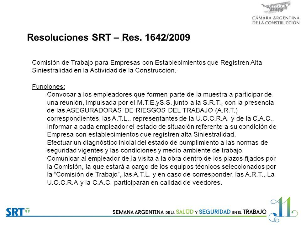 Resoluciones SRT – Res. 1642/2009
