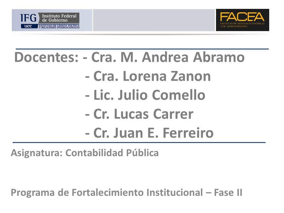 Docentes: - Cra. M. Andrea Abramo - Cra. Lorena Zanon - Lic