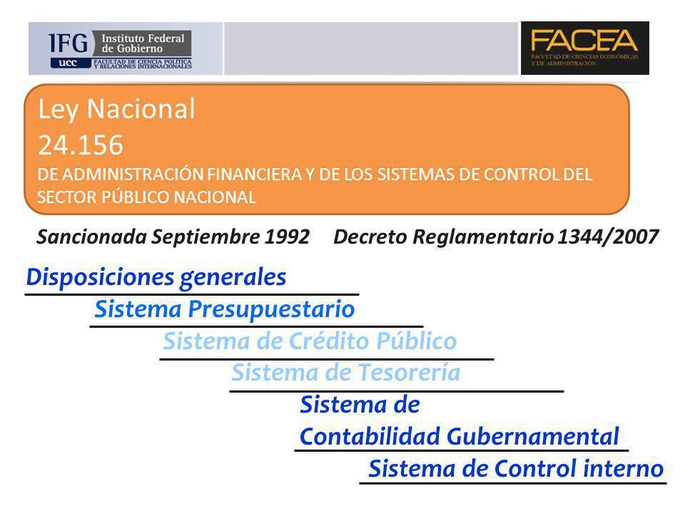 Ley Nacional 24.156 DE ADMINISTRACIÓN FINANCIERA Y DE LOS SISTEMAS DE CONTROL DEL SECTOR PÚBLICO NACIONAL