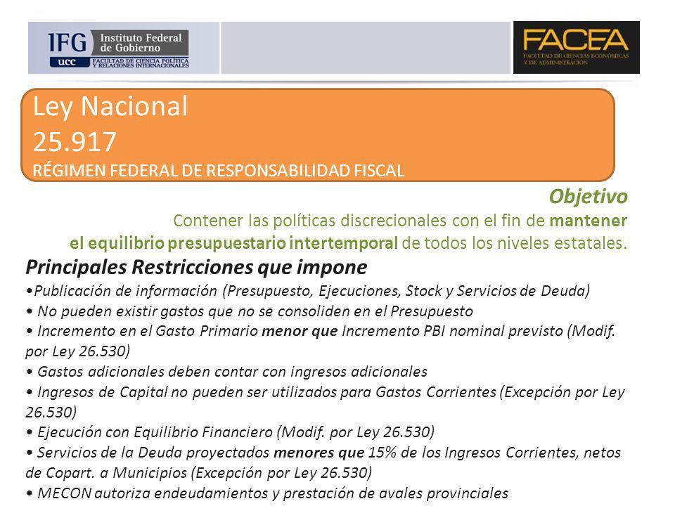 Ley Nacional 25.917 RÉGIMEN FEDERAL DE RESPONSABILIDAD FISCAL