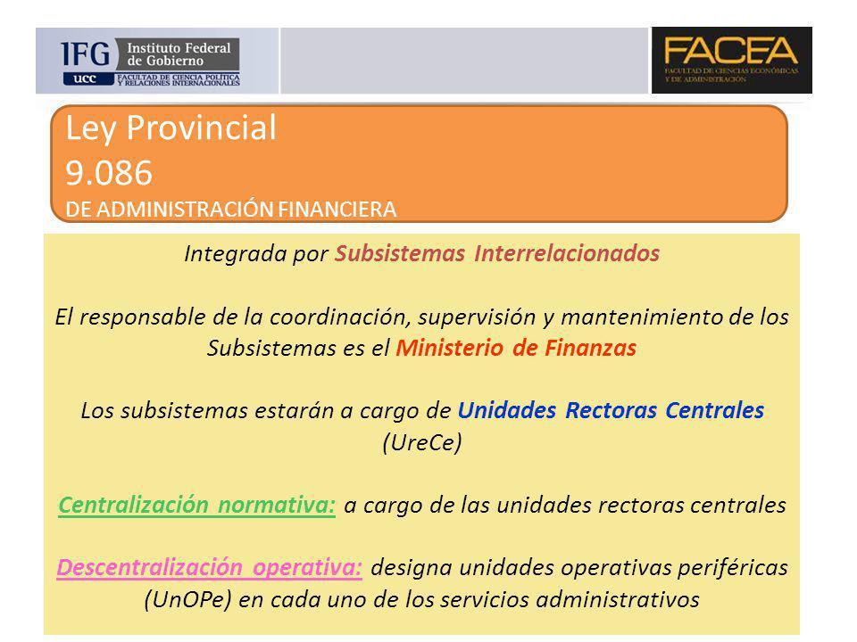Ley Provincial 9.086 DE ADMINISTRACIÓN FINANCIERA