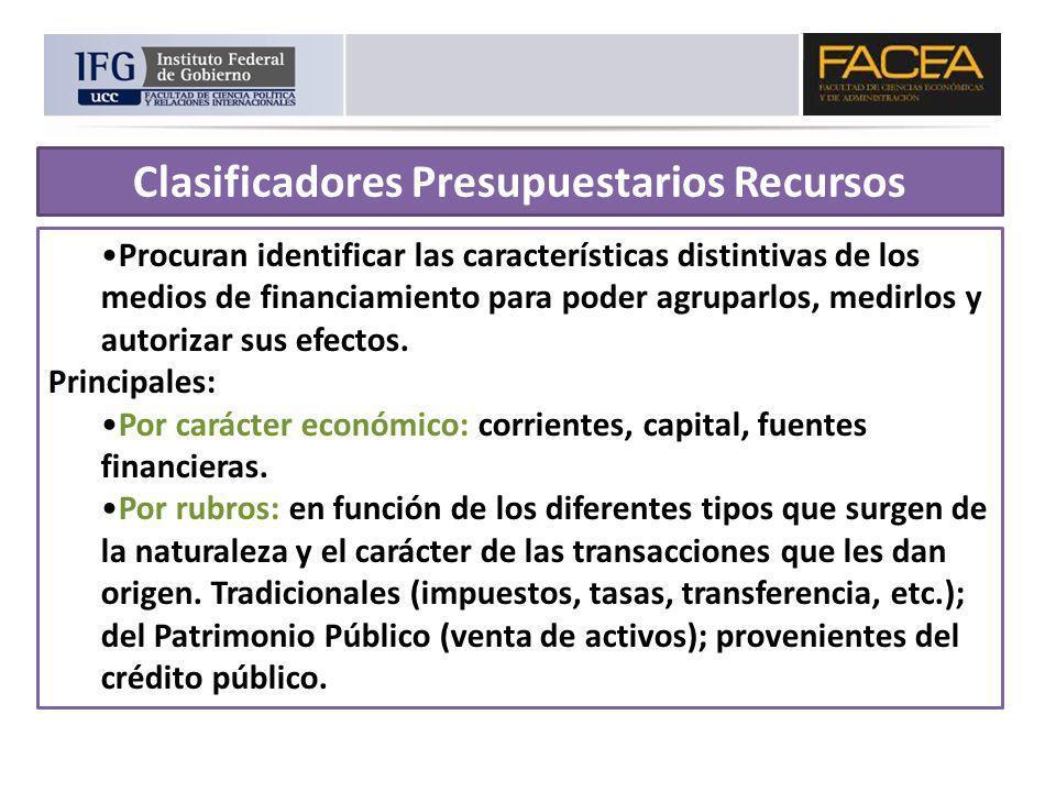 Clasificadores Presupuestarios Recursos