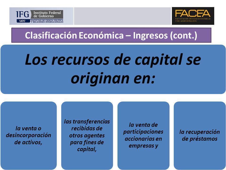 Clasificación Económica – Ingresos (cont.)